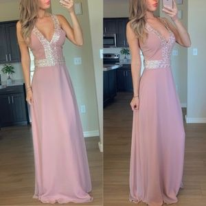 New Dress the Population Pink Sequins Gown Large